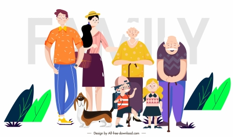 family painting age generations sketch cartoon characters