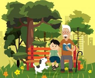 family painting grandfather grandson park icons cartoon design