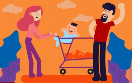 family painting parents kid icons colored cartoon design
