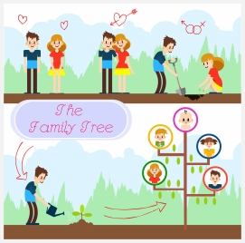 family tree vector with couple planting tree illustration