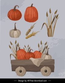 farm agricultural products icons retro handdrawn sketch