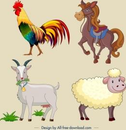 farm animal icons colored cartoon design