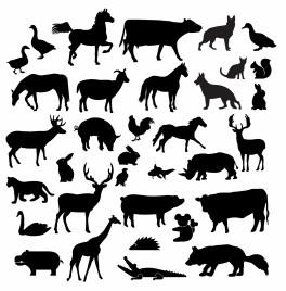 Farm animal silhouette collection