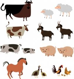 farm design elements cattle poultry icons sketch