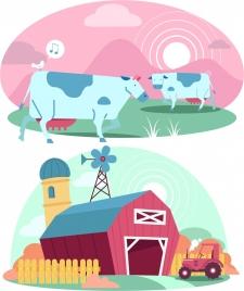 farm design elements cow cattle warehouse icons