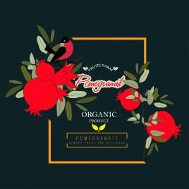 farm fruit advertisement red pomegranate icon dark design