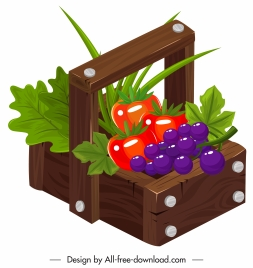 farm fruits icon colorful 3d classic sketch