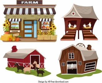 farm house icons store warehouse coop sty symbols