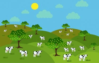 farm landscape background milk cows icons cartoon design