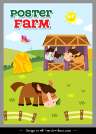 farm poster template horses hill sketch colorful cartoon