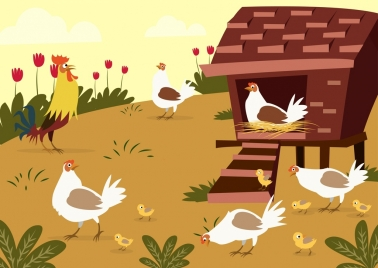 farm poultry drawing cock chicken icons colored cartoon