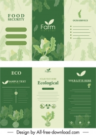 farm product leaflet template elegant green trifold shape
