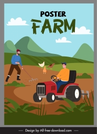 farm scene poster colorful cartoon design