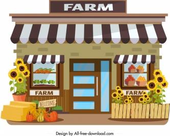 farm store icon agriculture products decor colorful design