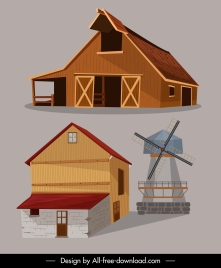 farm structures icons colored 3d sketch