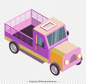 farm truck icon colorful 3d sketch