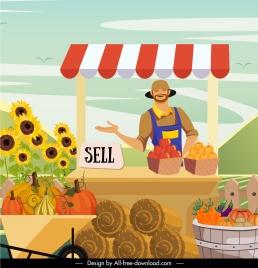farm work background farmer products sale cartoon sketch