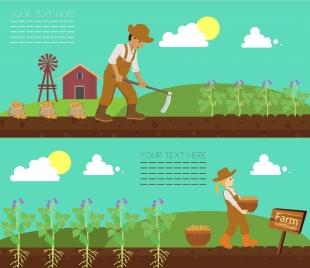 farm work banner farmer plant icons colored cartoon
