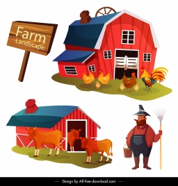 farm work design elements coop farmer sketch