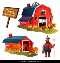 farm work design elements coop farmer sketch