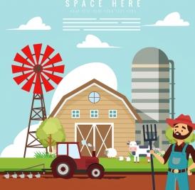 farm work drawing colored cartoon design