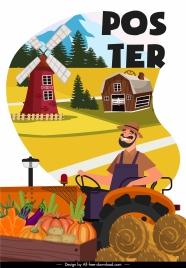 farm work poster happy farmer farmland elements sketch