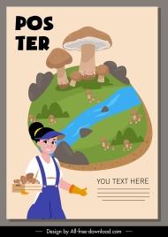 farm work poster natural mushroom farmer sketch
