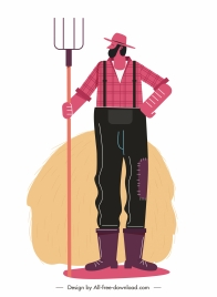 farmer icon colored flat sketch cartoon character