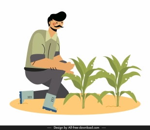 farmer icon man growing tree sketch cartoon character