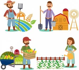 farmer icons collection colored cartoon design