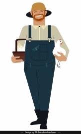 farmer job icon colored cartoon character