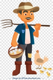 farmer profession icon cartoon character sketch