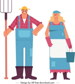 farmers icons colored cartoon characters sketch