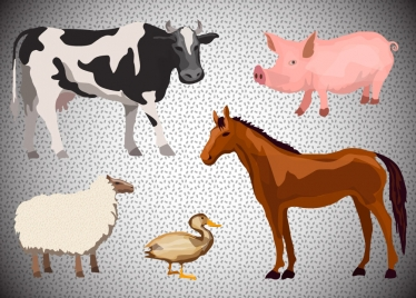 farming animals vector illustration with various types
