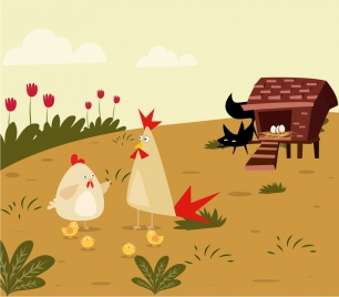 farming background chicken hen cat icons colored cartoon