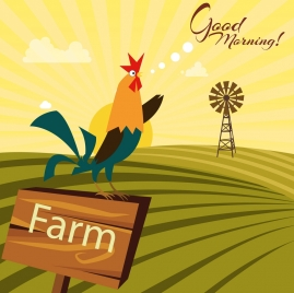 farming background cock field icons texts decoration
