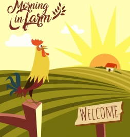farming background cock sun field icons decoration