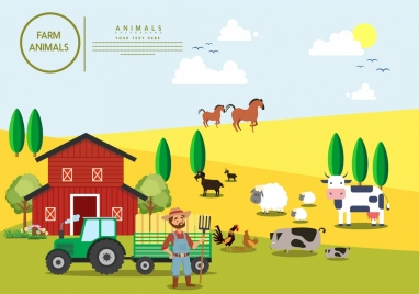 farming background colored cartoon design cattle icons