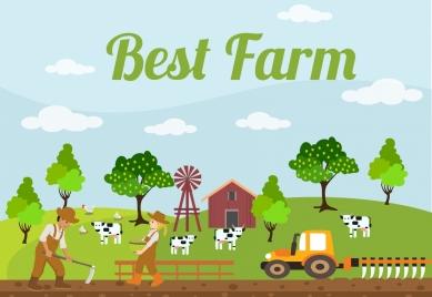 farming background colorful cartoon design