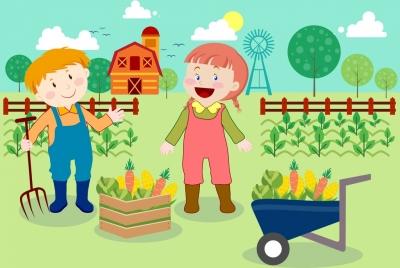 farming background cute kids icons multicolored cartoon design