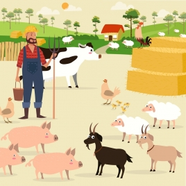 farming background farmer cattle poultry icons colored cartoon