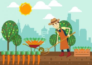 farming background male farmer carrot icons colored cartoon