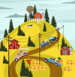 farming background mountain road cars cattle icons