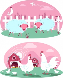 farming background templates cattle poultry icons pink decor