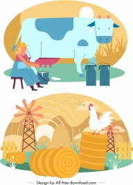 farming background templates dairy work poultry icons