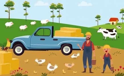 farming background transportation van cattle farmer icons