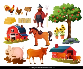 farming design elements cattle poultry farmer sketch