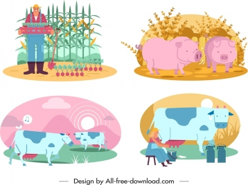 farming design elements farmer cattle icons cartoon design