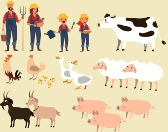 farming design elements human cattle poultry icons