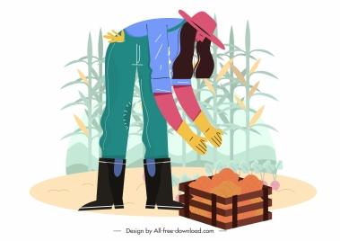 farming harvest painting cartoon design woman corn sketch